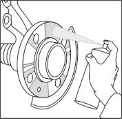 A kerékagy felfekvő felületét híg állagú korrózió gátló spray-vel kezelje.