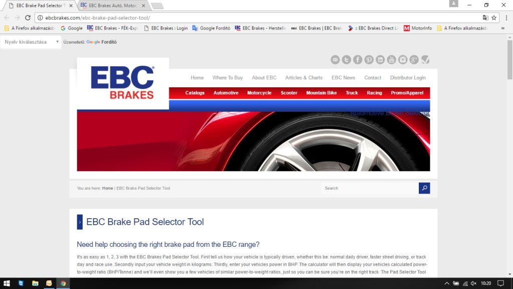 EBC Brakes fékbetét választó